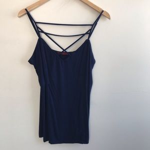 Bke Red Caged The Buckle Blue Tank Top XL